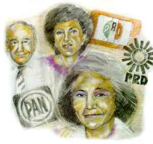 Left to right: Jose Angel Conchello National Action Party (PAN); Roberta Lajous Institutional Revolutionary Party (PRI); Ifigenia Martinez Party of the Democratic Revolution (PRD).