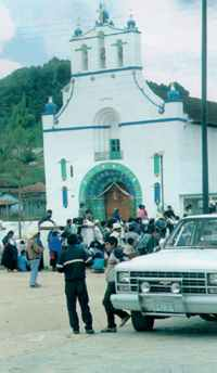 Gathering crowds around the church in Chamula, Chiapas.