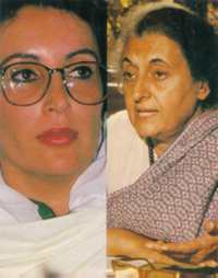 Their fathers' daughters: Benazir Bhutto (left) and Indira Gandhi.
