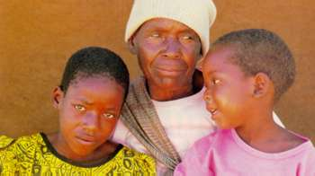 Granny care in Zimbabwe - like many grandparents, Mrs Ncube looks after her grandchildren. But their parents are not working - they have died of AIDS.