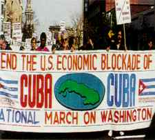 People-power: US protesters support Cuba.
