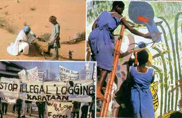 Jorgen Schytte (top left of the centre three pictures) documents Mauritanians' determination to reclaim the desert. Nigel Dickinson (other two) has captured a demonstration in the Philippines together with two images of the Kenyah people of Long Geng village in Sarawak, Malaysia. They are blockading logging roads in spirited defence of the forests that have sustained them for centuries.