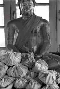 Bags of bones and ashes lie beneath a statue of Buddha: some are never collected for fear of infection. Photo Frazer Dryden.