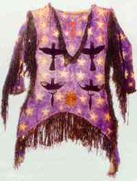 Shirt worn by Ghost Dancer. Many dancers believed the shirt would protect them from the whites' bullets.