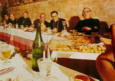 Roast beef for prelates and priests at the Vatican. Holy finances have been linked to drug dealing and political repression.