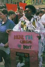 Get the message? Outside the Birmingham G7 meeting in June 1998