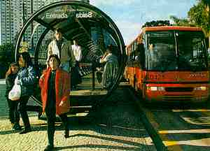 Raised bus shelters for speedy boarding in Curitiba.