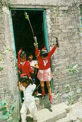 Mexico City schoolchildren join the struggle for urban survival, armed with seedling trees to plant.