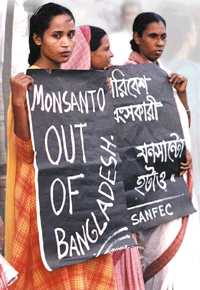 Signs of dissent: Monsanto's alliance with the Grameen Bank gets people out on the street.