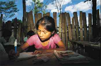 Light of learning. An open schoolroom in the jungles of Quiche in Guatemala.