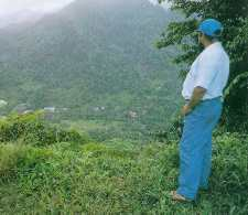 Irvince surveys his home in Carib territory.