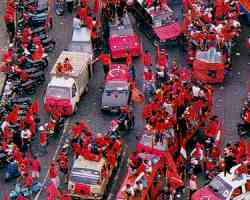 Streets stained red - Megawati's supporters out in force.