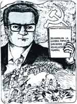Abimael Guzmán, as portrayed in a rare Sendero Luminoso pamphlet.