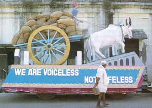 Voiceless not lifeless; independent but not free - rural workers' float on India's National Day.
