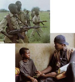 Top: Child soldiers in John Garang's army in the Sudan civil war. Bottom: A youth worker counsels a former child soldier in Sierra Leone.