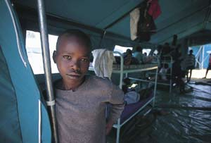 Co-opted: accused of genocide, this boy is held in a Rwandan detention centre.