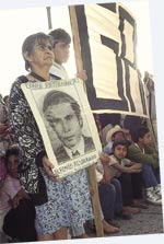 Demanding justice for the `disappeared' outside Guatemala's National Palace.