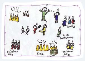 A Roma child's depiction of persecution.