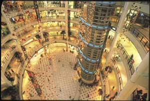 Glittering cathedrals of consumerism: a high-end shopping mall in Kuala Lumpur, Malaysia.