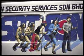 The evolution of security on the side of a van in Sabah, Malaysia.
