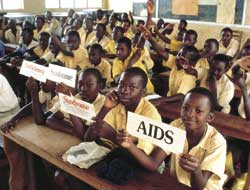 Teaching them young: all the more vital because HIV/AIDS drugs are ruled 'not cost-effective' for Africans.