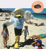 Sun block clowns - part of Australia's public health campaign to combat spreading skin cancer.