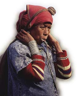 Colours of our cultures: a woman from Bandorban in the Chittagong Hill Tracts mixes traditional dress with denim.
