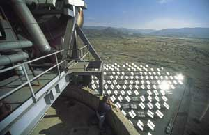 Catching a few rays: photovoltaic solar panels glint in the Spanish sun near Almeria.