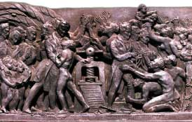 Gutenberg bronze depicting abolitionists surrounded by slaves begging for their freedom.