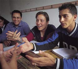 Students in Tunisia where democratic hopes are flourishing.