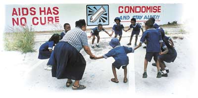 All fall down: children play in Francistown, Botswana. A third of all adults in the country are hiv positive.