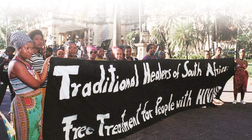 Show of strength: traditional healers demanding free treatment for South Africa's poor.