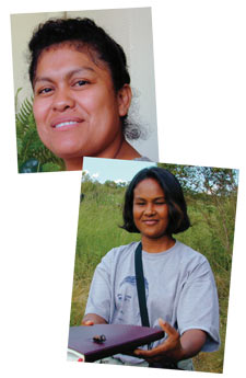 'We want to produce our own food': Via Campesina members Rosalva Gutierrez of Belize (left), and Kanya Pankiti of Thailand (right).