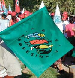Way of the farmer: Via Campesina flag unites peasant farmers from around the world at the World Social Forum 2002.