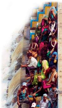 Villagers by their check dam in the Dahod district of Gujarat.