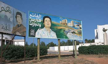 Qadhafi the Great? A poster glorifying the $32-billion Great River project, which critics say is a white elephant.