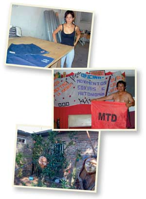 The MTD in La Matanza: Denim skirts made 'as far away from market forces as possible' (top); Toty Flores displays the message (middle); the garden begins to bloom (bottom).