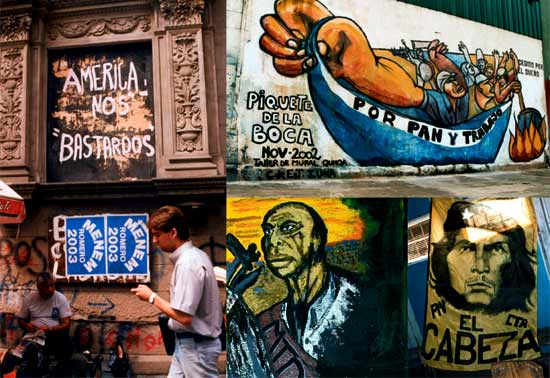 (from the top left anti-clockwise): Carlos Menem spends a bit of his ill-gotten gains on posters outside a bank where staff must use the back door; a child's view from Solano; the spirit of Ché Guevara presides in La Matanza; 'bread and work' on demand from piqueteros in the barrio of La Boca, Buenos Aires.