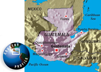 Map of Guatemala.