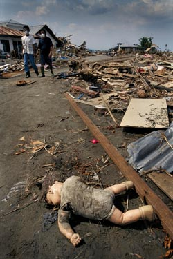 Indonesian survivors looking for missing relatives in the Ulele district, Banda Aceh, come across a child's doll amidst the devastation. Aceh, the closest landfall to the epicentre of the quake that triggered the tsunami, suffered the greatest loss of life. Photo: Martin Adler / Panos