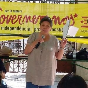 A campaigner speaks at an event organised by the CUP.