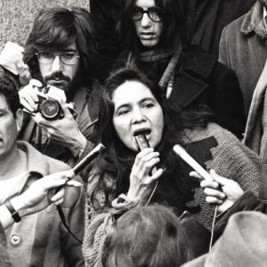 Dolores Huerta, mobilizing farm workers in 1960s US.