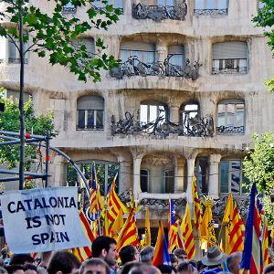 Independence: a 2010 protest outside Gaudi's La Pedrera in Barcelona after the Spanish Constitutional court struck down Catalonia's autonomy statute.