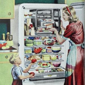 'NEW FRIGIDAIRE MASTER for families that want maximum storage space...'.From the Ladies' Home Journal. 1948. Pic: Wyeth, N.C.