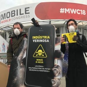 Protesters for workers' rights at the Mobile World Congress taking place in Barcelona.
