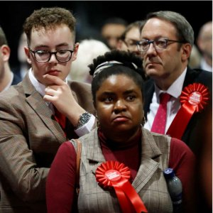 Dejected Labour party members after a disasterous UK General Election