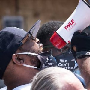 Terrence Floyd, George Floyd's brother, speaks at his brother's memorial at Chicago Ave and E 38th St in Minneapolis, Minnesota. Credit: Lorie Shaull/Flickr