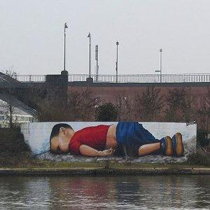 A mural in Frankfurt of drowned refugee Alan Kurdi, a photo of whose body lying on the beach went viral in 2015.