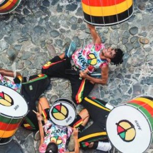 Olodum performers hit the streets. Credit: Banda Olodum