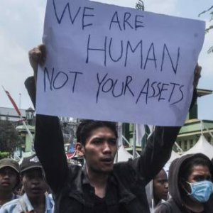West Papua Students, Alliance of People's Unity for Liberation of West Papua demonstratedin Yogyakarta, in August, 2019 against racism and called for independence for their region. (Credit Image: © Slamet Riyadi/ZUMA Wire)